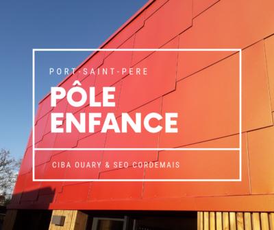 CIBA OUARY - Pôle Enfance de Port-Saint-Père façade en écailles métalliques orangées